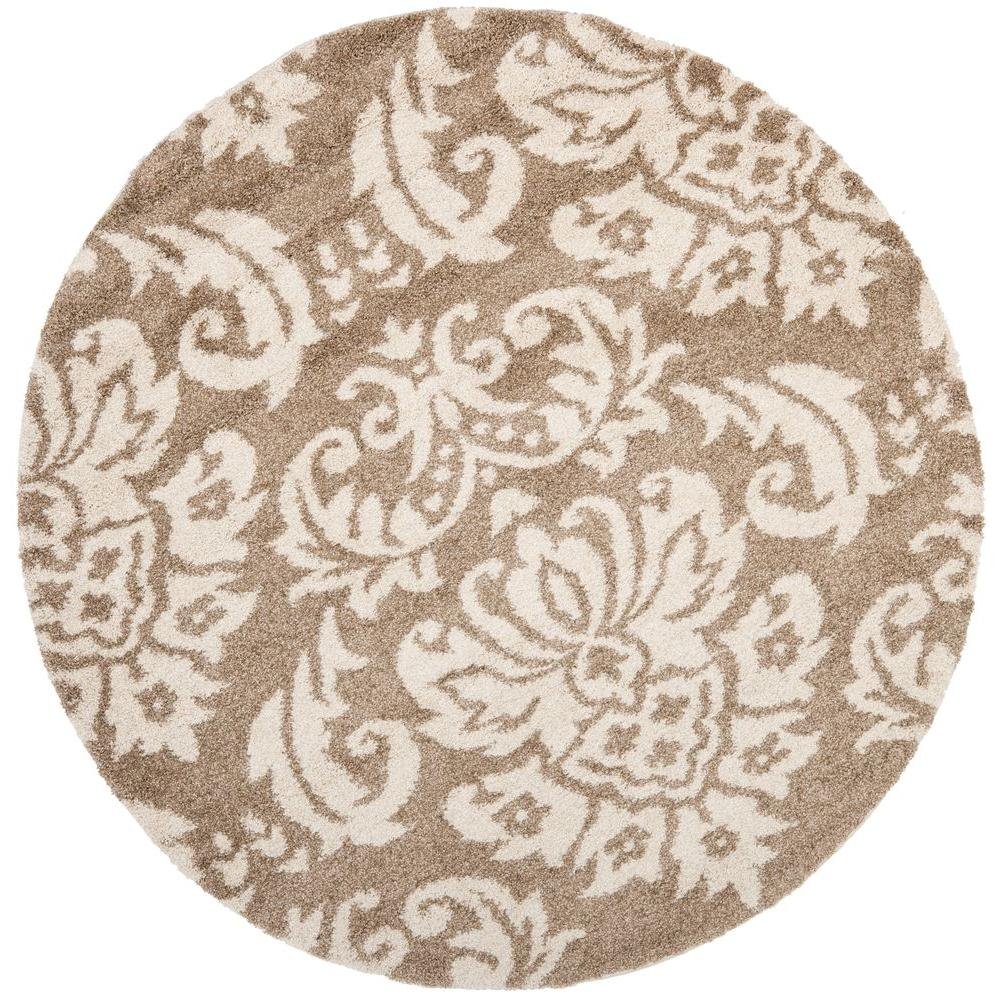 Florida Shag Beige/Cream 4 Ft. X 4 Ft. Round Area Rug