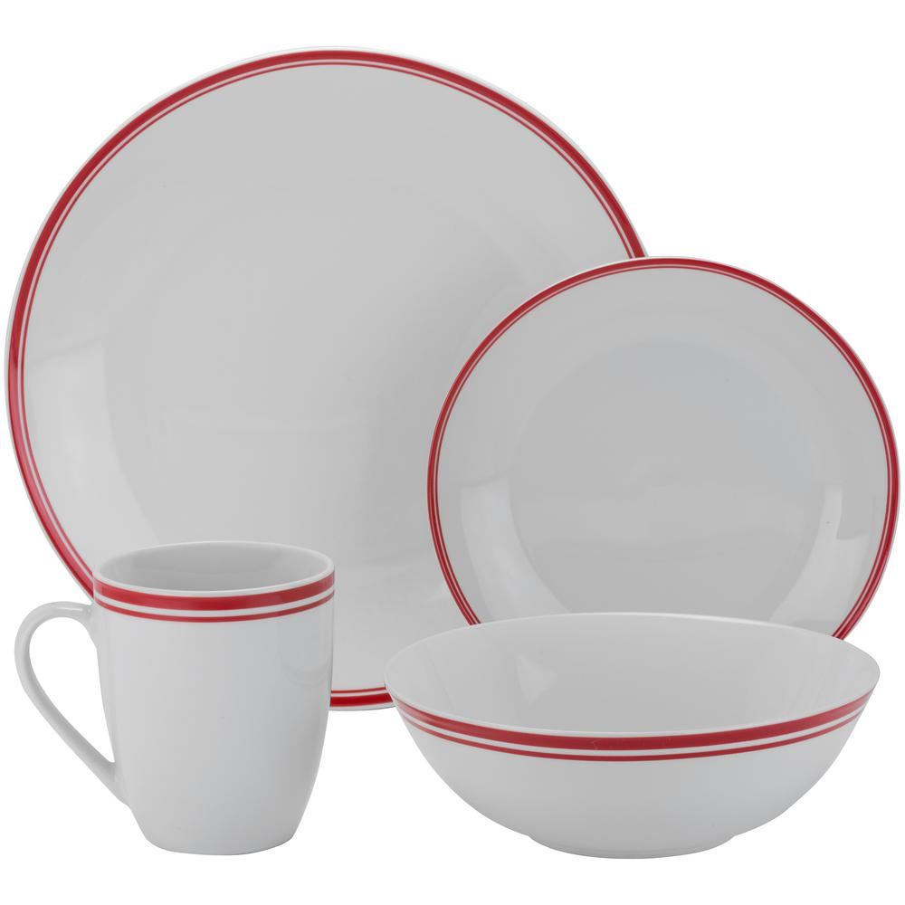 Ten Strawberry Street 16-Piece Red Coupe Dinnerware Set