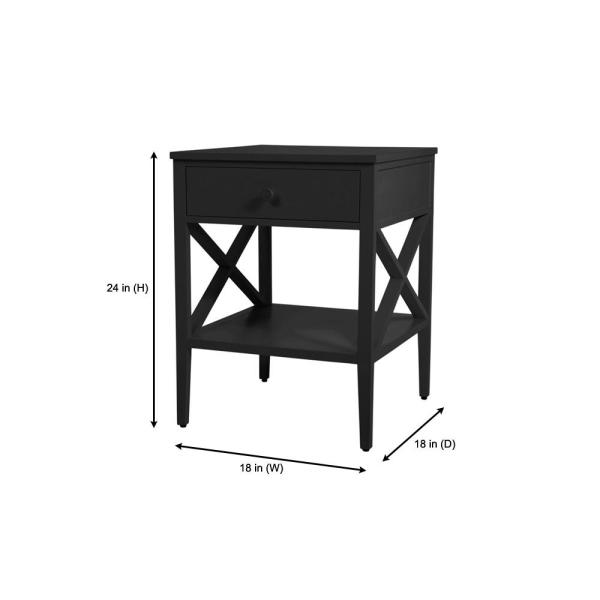White Finish Wooden X-Design Chair Side End Table with 3-tier Shelf