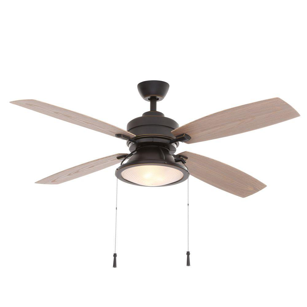 Hampton Bay Kodiak 52 In Indoor Outdoor Dark Restoration Bronze Ceiling Fan With Light Kit 14905 The Home Depot
