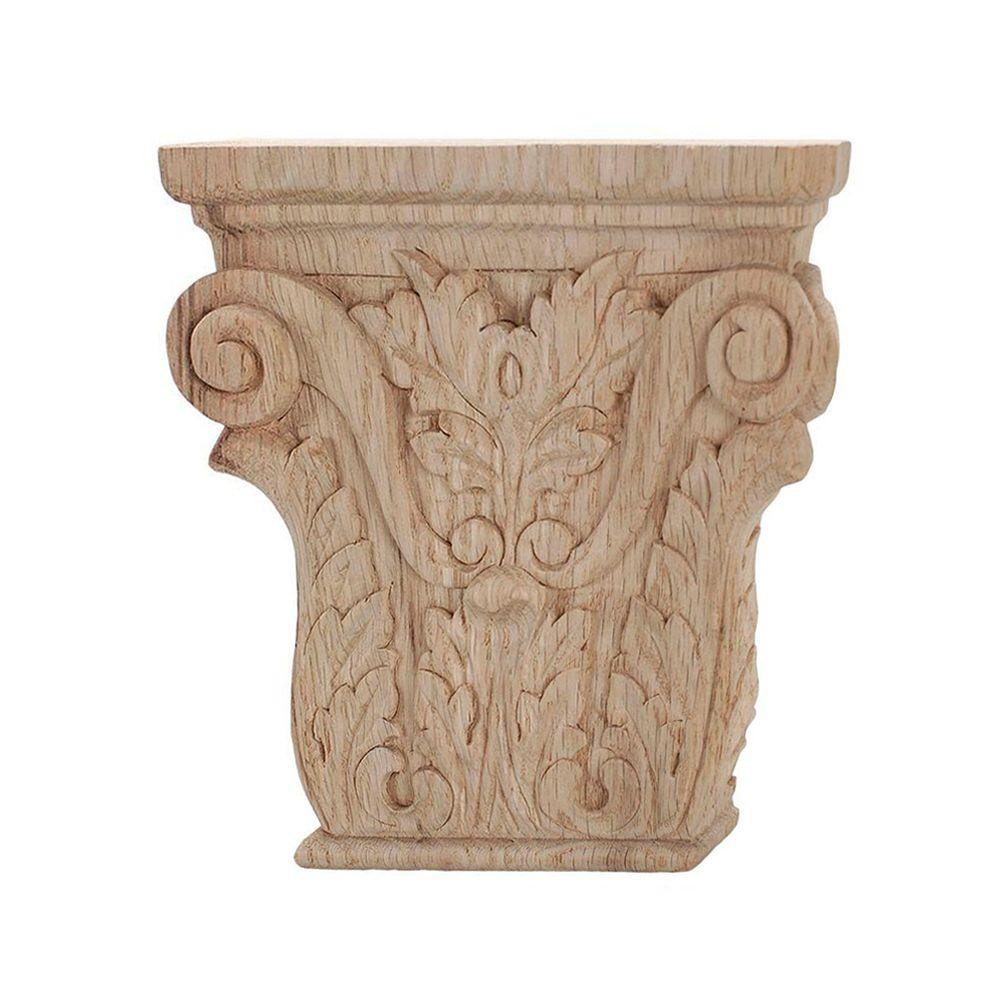 American Pro Decor 4 in. x 3-7/8 in. x 1 in. Unfinished Hand Carved North American Solid Red Oak Acanthus Wood Onlay Capital Wood Applique