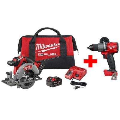 M18 FUEL 18-Volt Lithium-Ion Brushless Cordless 6-1/2 in. Circular Saw Kit with Free M18 FUEL Hammer Drill