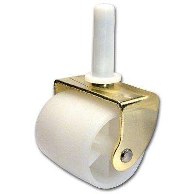 2 in. Brass and White Caster with 126 lbs. Load Rating