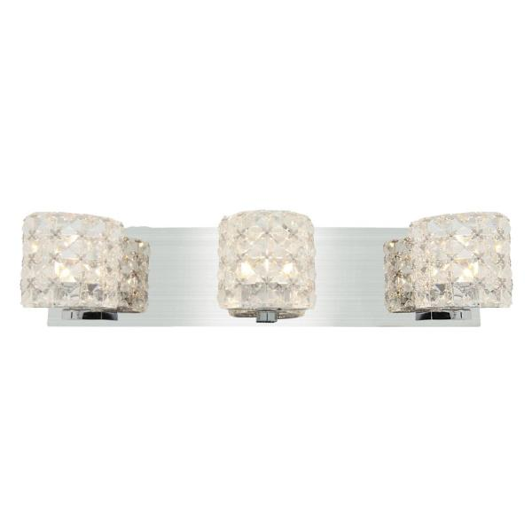 Prizm 3-Light Chrome Bath Light with Clear Crystal Shade