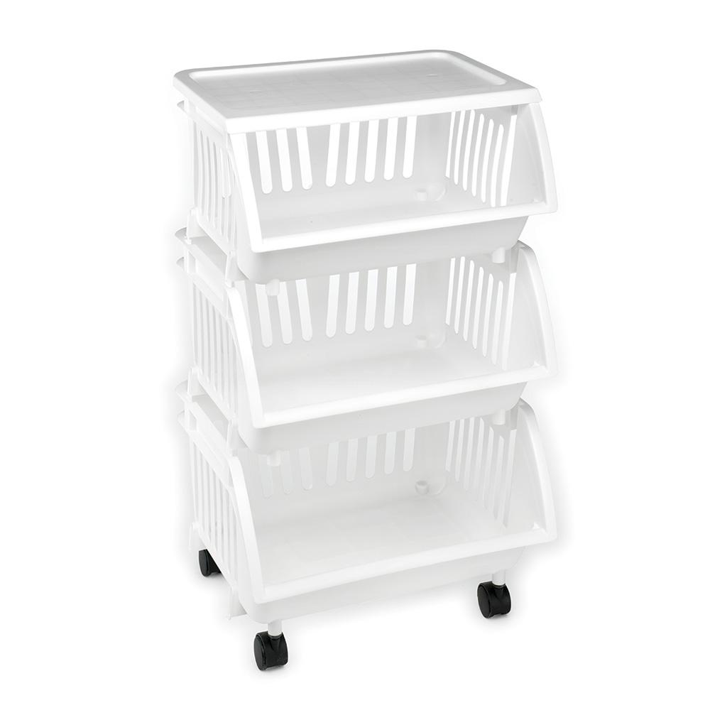 3 Tier Mobile Cart In White 4 Pack