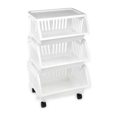 3-Tier Mobile Cart in White (4-Pack)