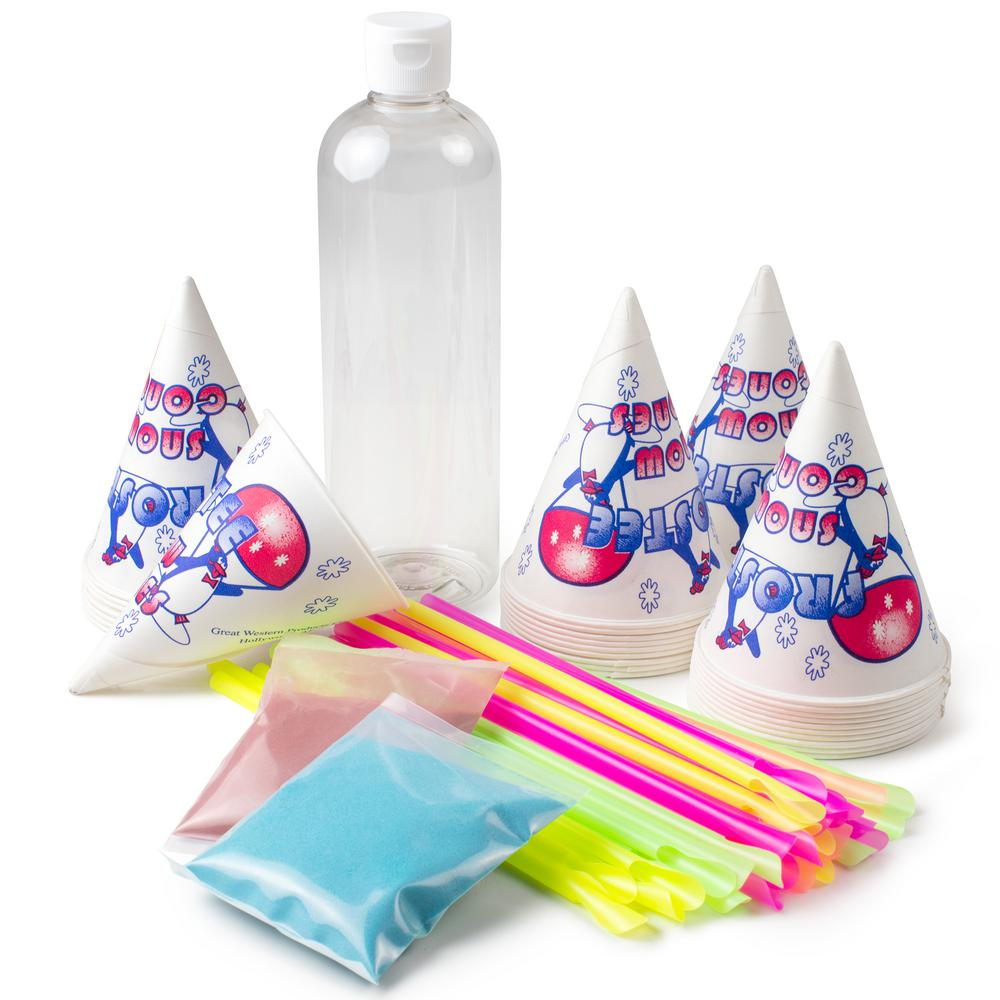 Nostalgia Snow Cone Maker Kit, Multi The Nostalgia SCK800 Snow Cone Kit is a fun and convenient way to make refreshing snow cones in the comfort of home. Includes 30-paper cones and spoon straws, along with 2 oz. flavor mixes in cherry and raspberry. The 16 oz. squeeze bottle allows you to easily add delicious snow cone flavoring. Designed to be used with all Nostalgia snow cone makers. Color: Multi.