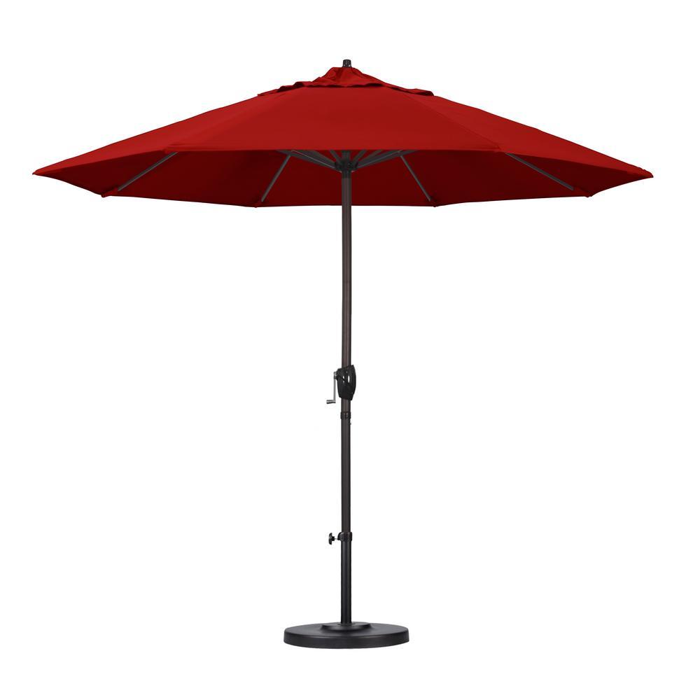 9 ft. Bronze Aluminum Pole Market Aluminum Ribs Auto Tilt Crank Lift Patio Umbrella in Jockey Red Sunbrella