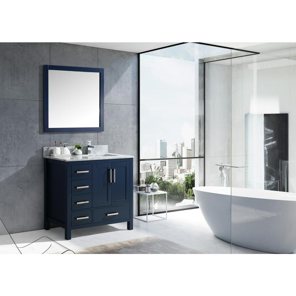 Lexora Jacques 36 in. Navy Blue Single Vanity Top White Carrera Marble White Square Sink and 34 in. Mirror Left