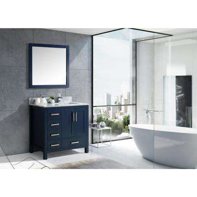 Jacques 36 in. Navy Blue Single Vanity Top White Carrera Marble White Square Sink and 34 in. Mirror Left