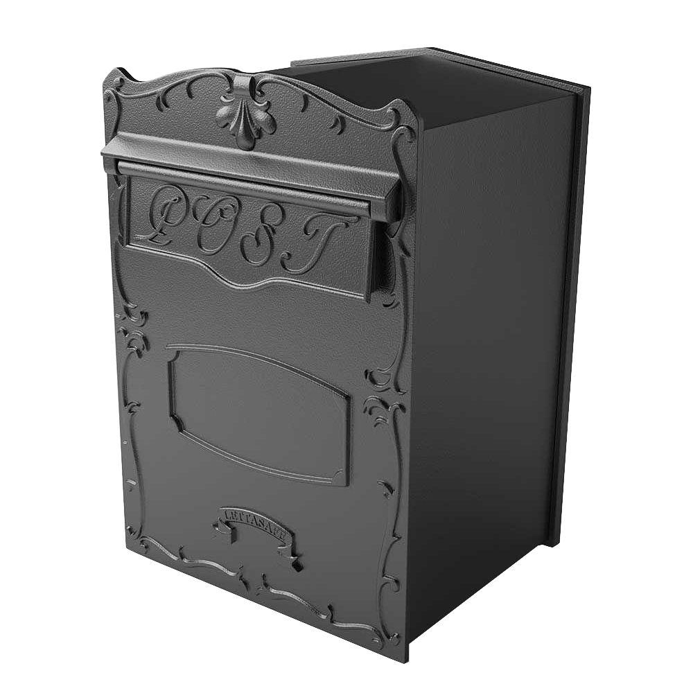 Kingsbury Black Wall Mount Locking Rear Retrieval Mailbox