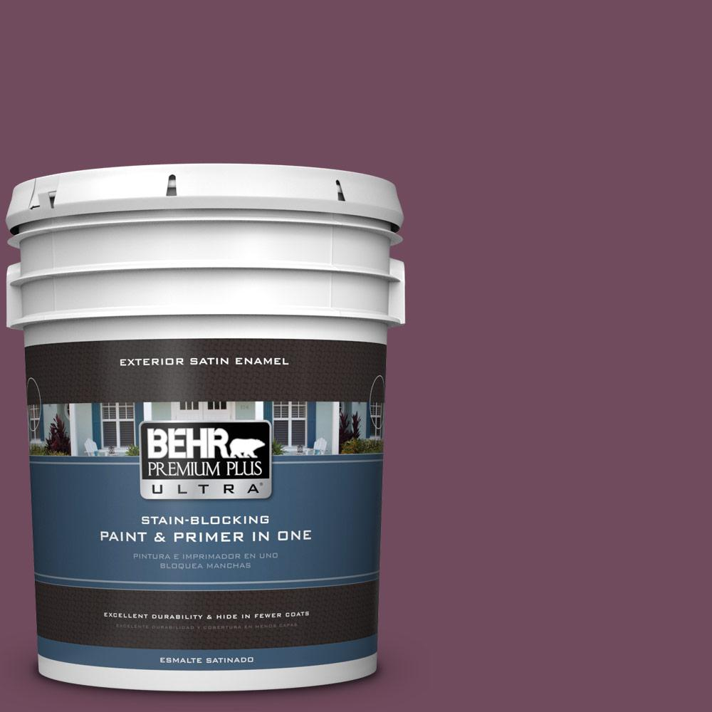 5 gal. #MQ1-39 Prussian Plum Satin Enamel Exterior Paint and Primer