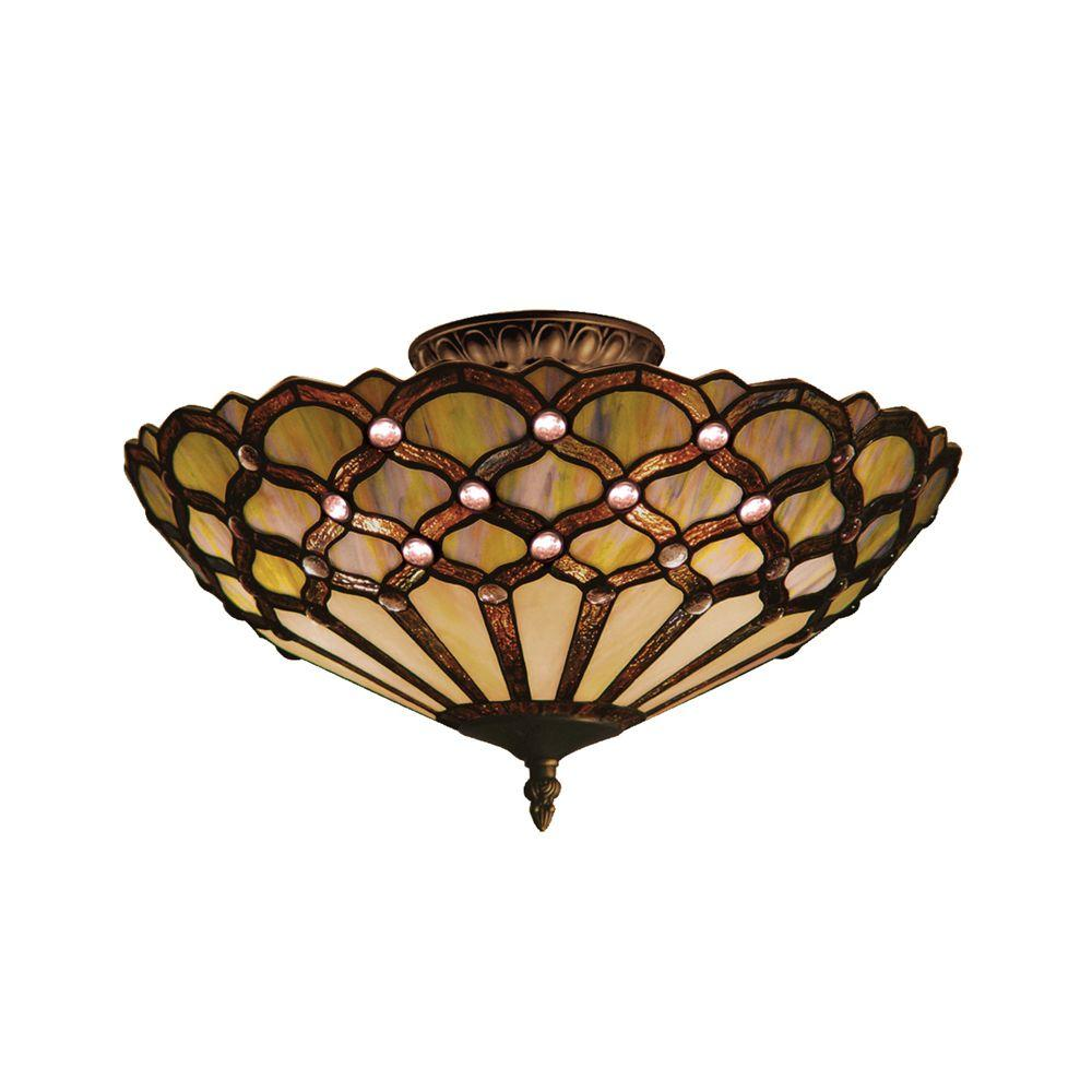 Titan Lighting Jewel  3-Light Tiffany Bronze Ceiling Semi Flush Mount