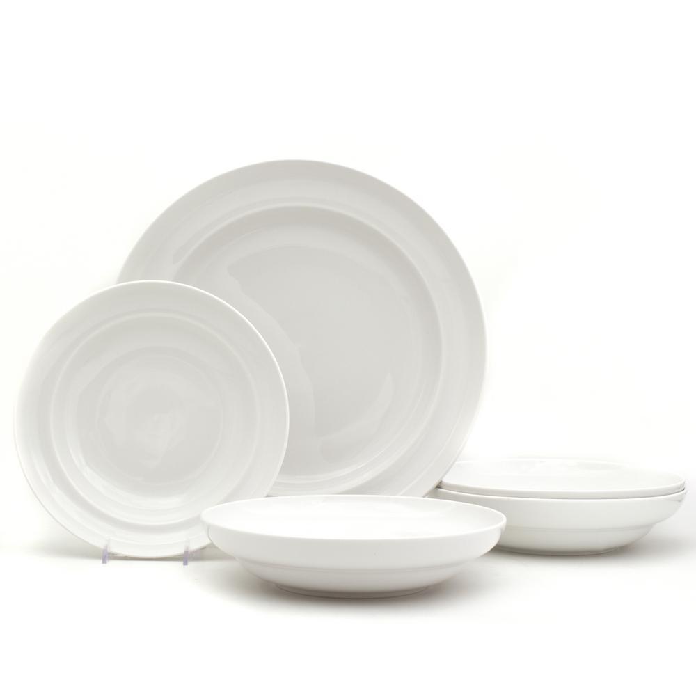 33.8 fl. oz. White Essential Pasta Bowls and Serve Set