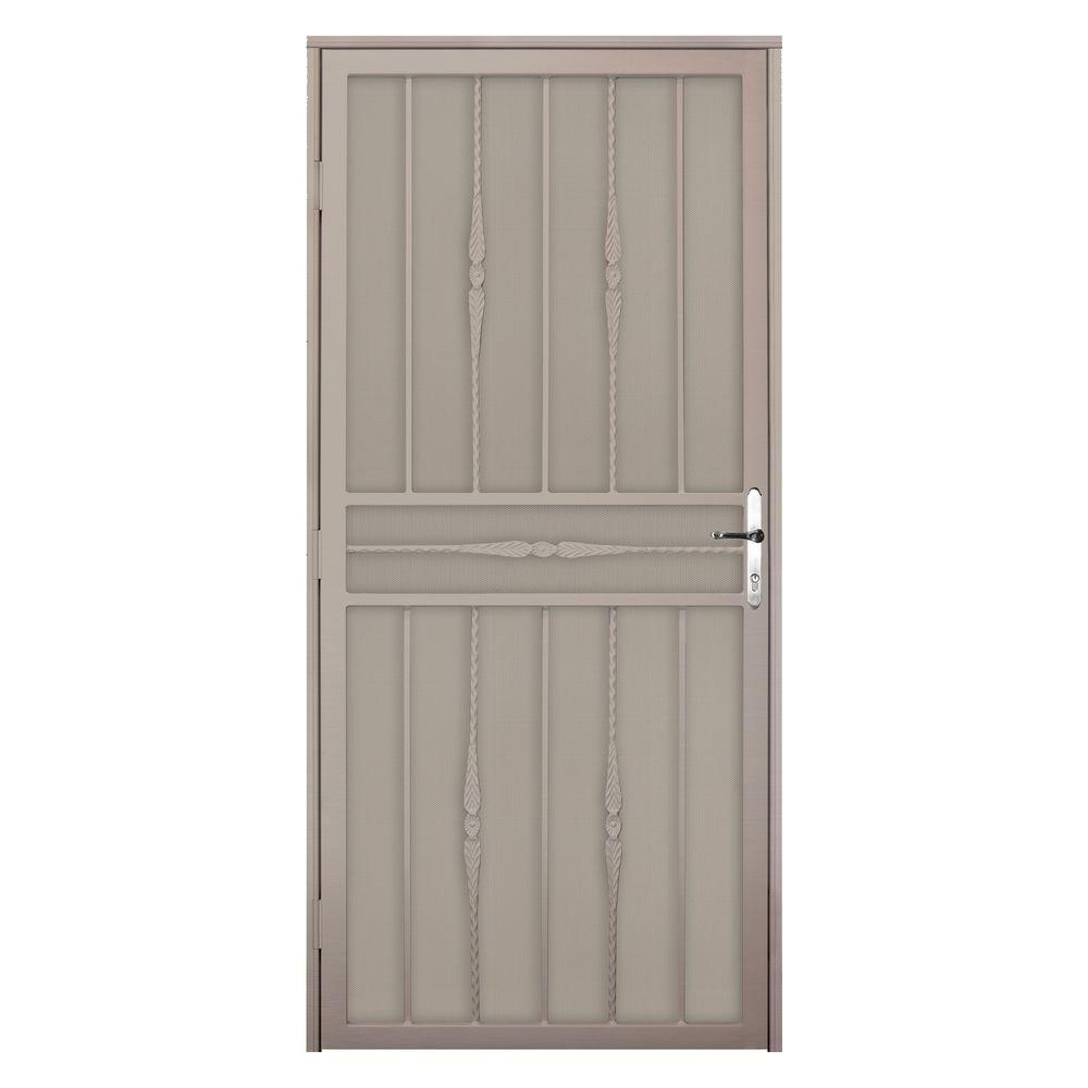 Unique Home Designs 36 in  x 80 in  Cottage Rose Tan Recessed Mount Steel  Security Door with Perforated Metal Screen and Nickel Hardware