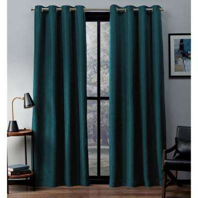 Eglinton 52 in. W x 96 in. L Woven Blackout Grommet Top Curtain Panel in Teal (2 Panels)