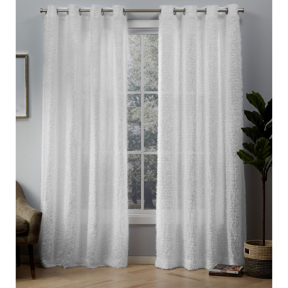 Exclusive home curtains eyelash embellished grommet top curtain in white 54 in w x