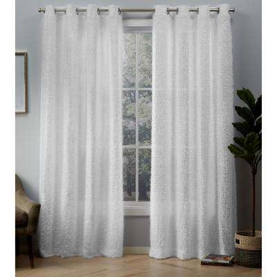 Eyelash 54 in. W x 108 in. L Eyelash Embellished Grommet Top Curtain Panel in White (2 Panels)