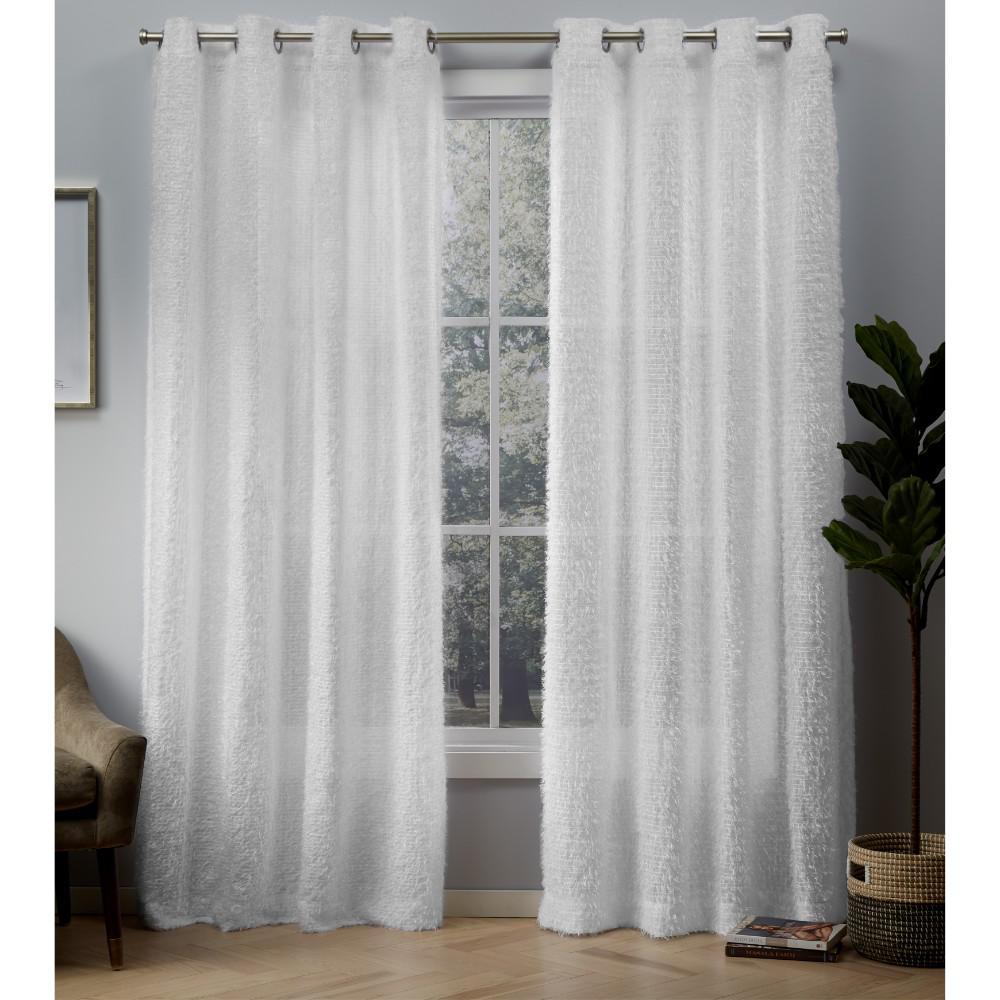 Eyelash 54 in. W x 108 in. L Eyelash Embellished Grommet Top Curtain Panel in White (2 Panels)