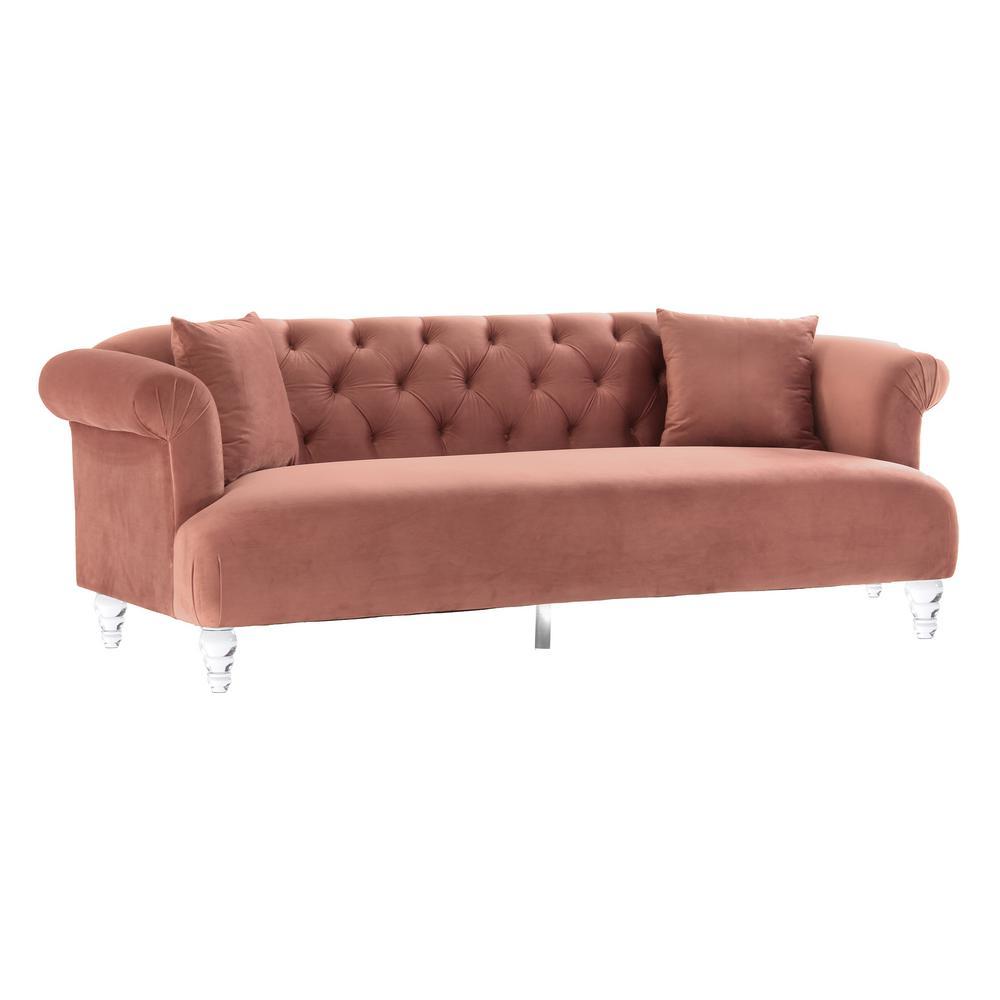Elegance Blush Velvet Contemporary Sofa