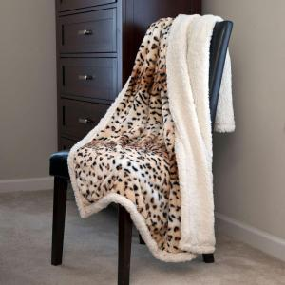 Tiger Fleece Sherpa Polyester Throw Blanket