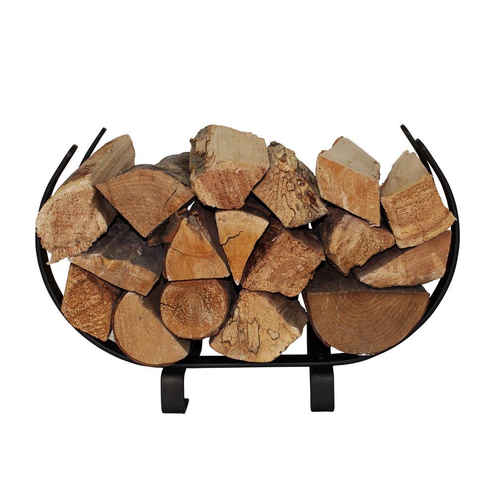 Handcrafted Indoor/Outdoor Small U Shaped Firewood Rack Textured Bronze