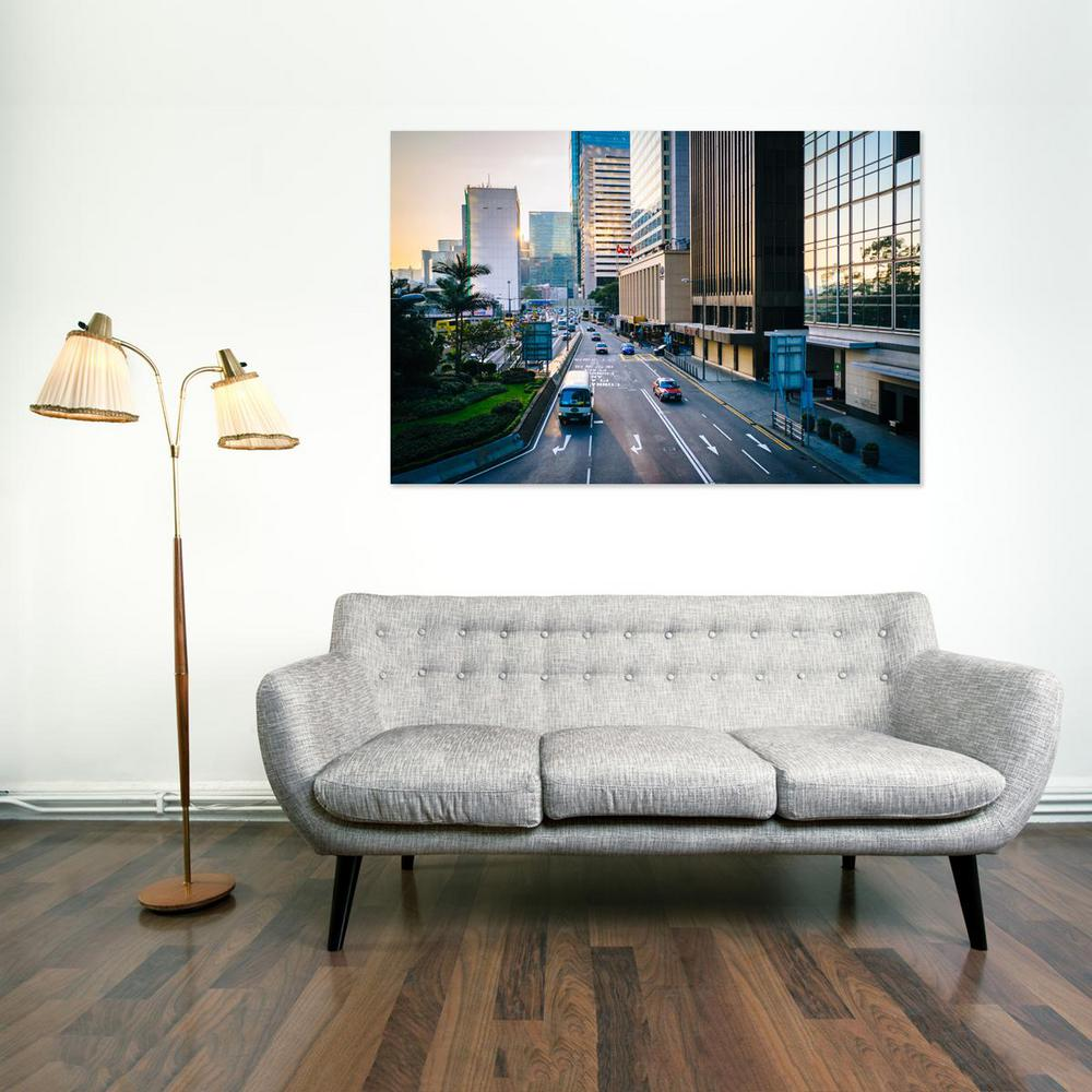 "16 in. x 24 in. ""Road and modern skyscrapers at sunrise,"