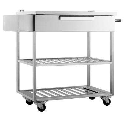 Stainless Steel Classic 32x33.6x24 in. Outdoor Kitchen Mobile Bar Cart