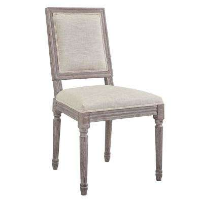 Court Vintage Beige French Upholstered Fabric Dining Side Chair