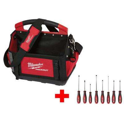 15 in. Packout Tote with Screwdriver Set (8-Piece)