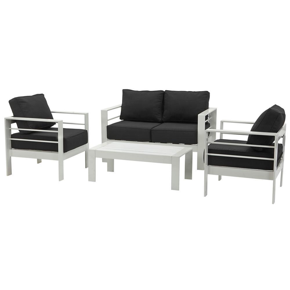 Safavieh Nason White 4-Piece Metal Patio Conversation Set with Black Cushions