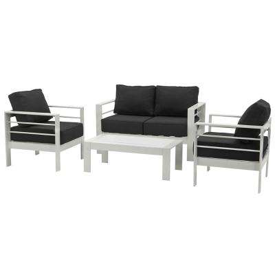 Nason White 4-Piece Metal Patio Conversation Set with Black Cushions