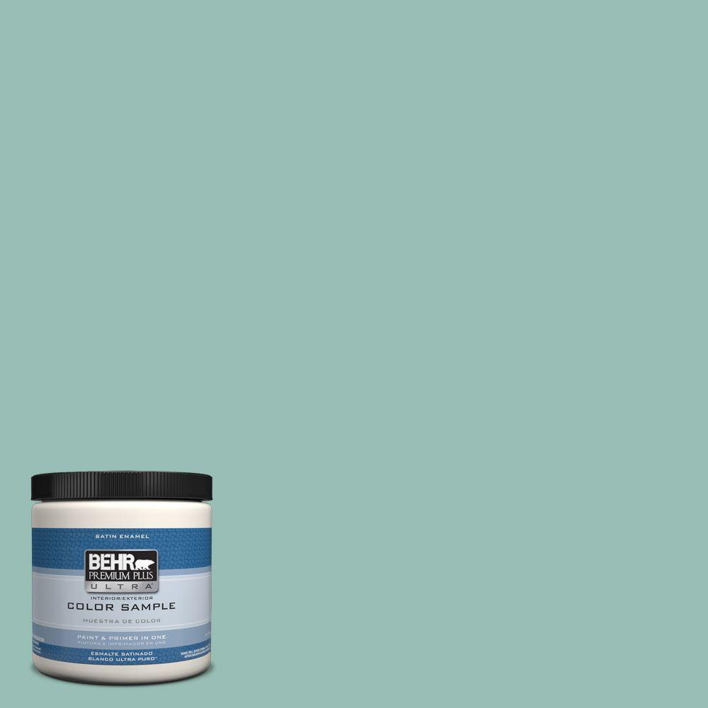 BEHR Premium Plus Ultra 8 oz. #PPU12-08 Opal Silk Satin Enamel Interior/Exterior Paint and Primer in One Sample