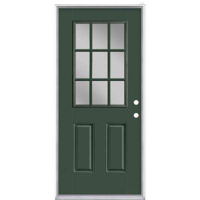 36 in. x 80 in. 9 Lite Conifer Left Hand Inswing Painted Smooth Fiberglass Prehung Front Exterior Door with No Brickmold