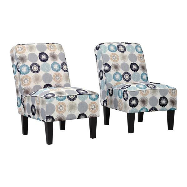 Handy Living Brodee Taupe Multi-Starburst Upholstered Armless Accent Chairs (Set