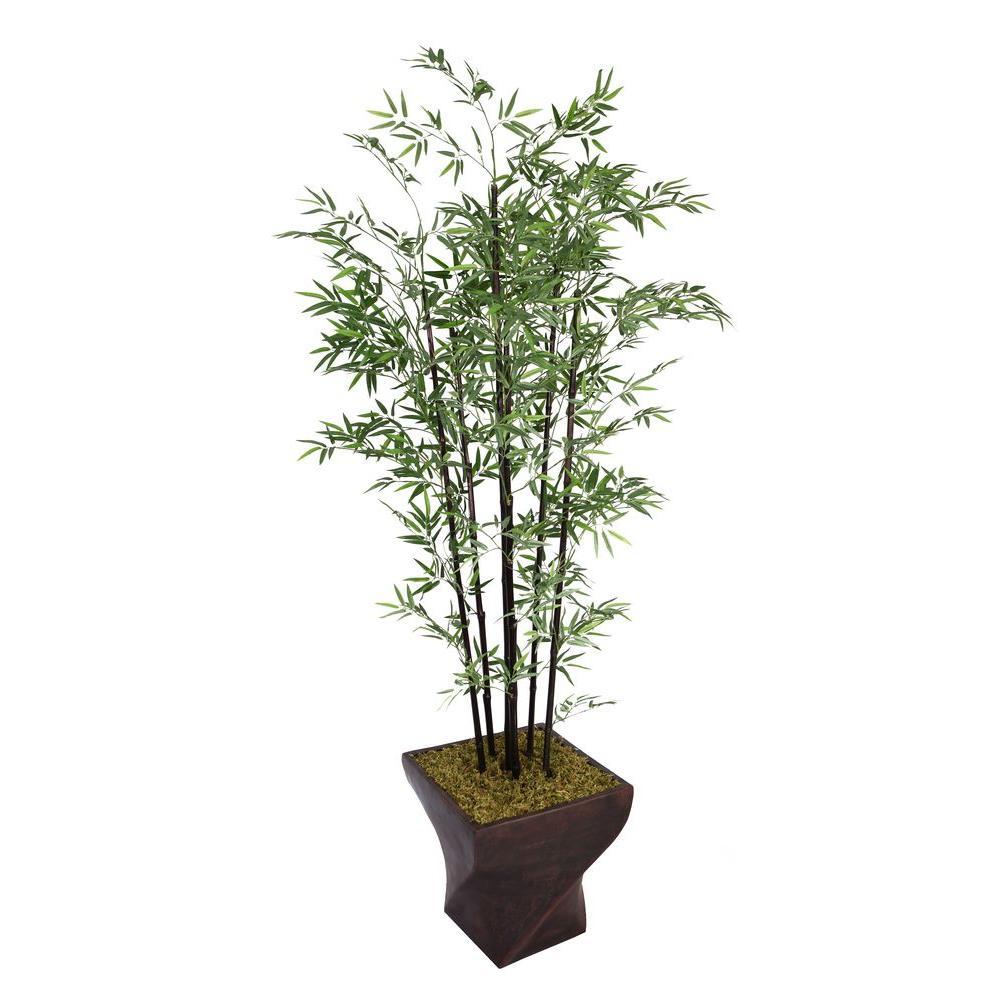 82 in. Tall Black Bamboo Tree in 17 in. Fiberstone Planter