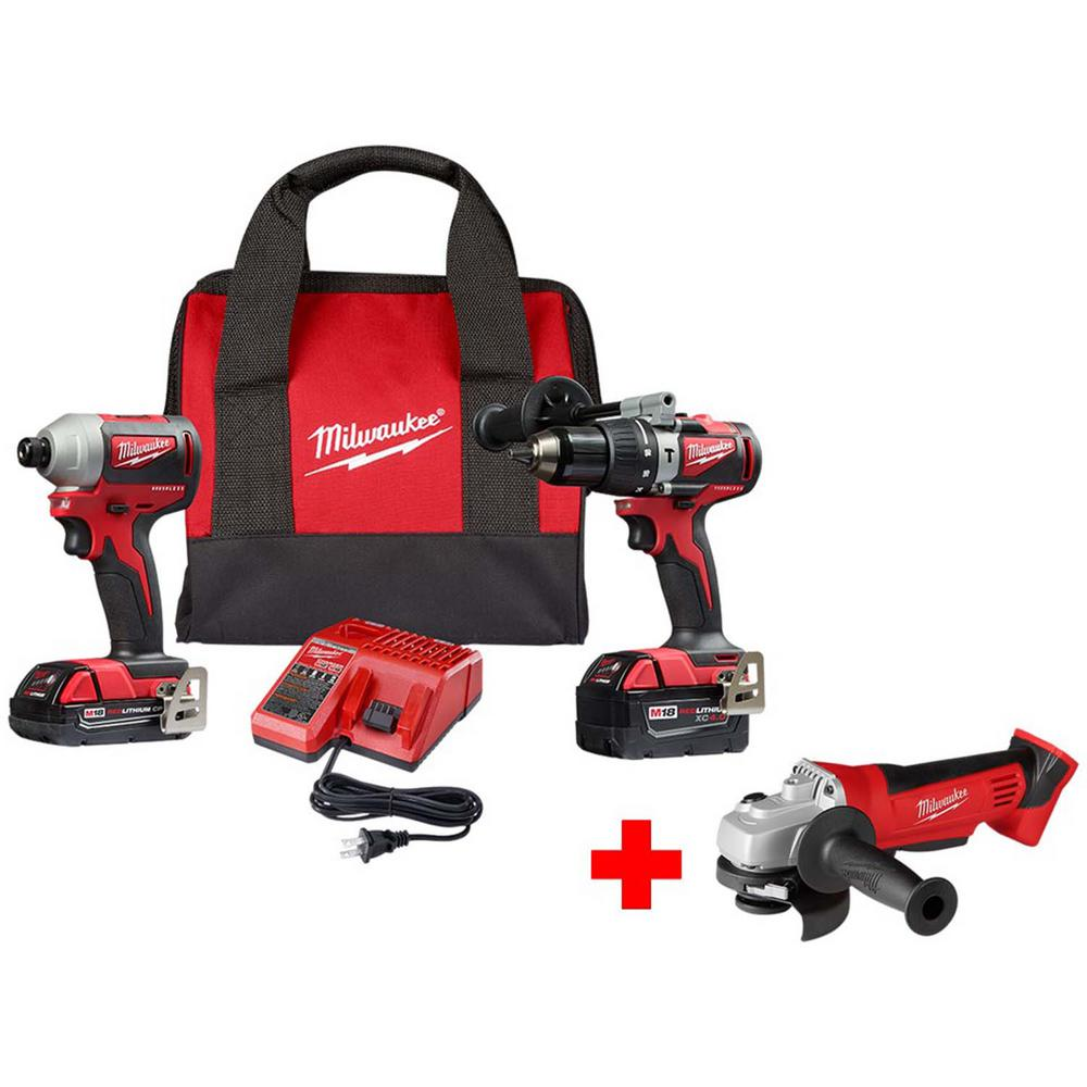 Milwaukee M18 18-Volt Lithium-Ion Brushless Cordless Hammer Drill and Impact Combo Kit with Free M18 4-1/2 in. Cut-Off/Grinder