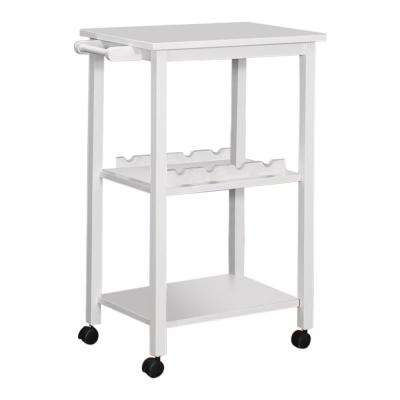 White 3 Shelf with Towel Bar Serving Bar Cart on Wheels