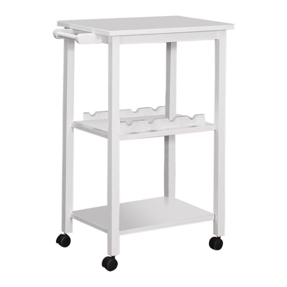 Kings Brand Furniture White 3 Shelf with Towel Bar Serving Bar