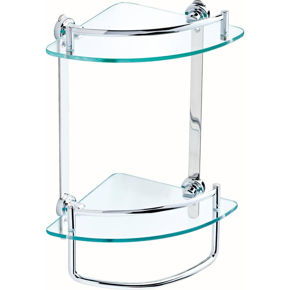 Delta 8 in. Glass Double Corner Shelf with Hand Towel Bar in Polished Chrome