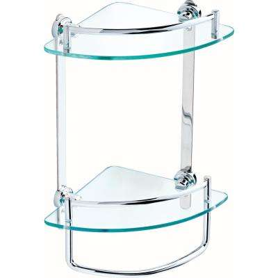8 in. Glass Double Corner Shelf with Hand Towel Bar in Polished Chrome