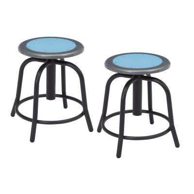 18 in. to 25 in. Height Blueberry Seat and Black Frame Adjustable Swivel Stool (2-Pack)