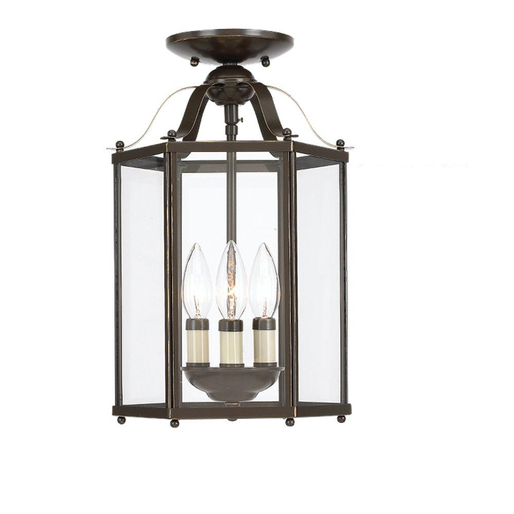 Sea Gull Lighting Bretton 9 5 In W 3 Light Heirloom Bronze Semi Flush