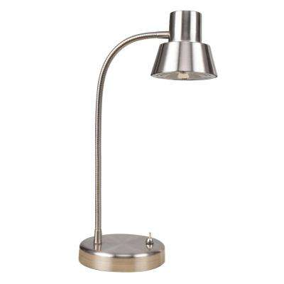 14 in. Integrated LED Brushed Nickel Gooseneck Desk Lamp