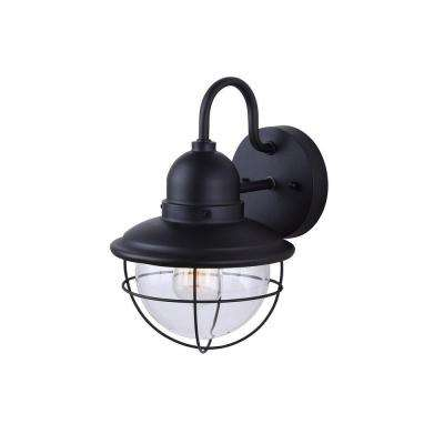 Lohan 1-Light Black Outdoor Wall Lantern with Clear Glass