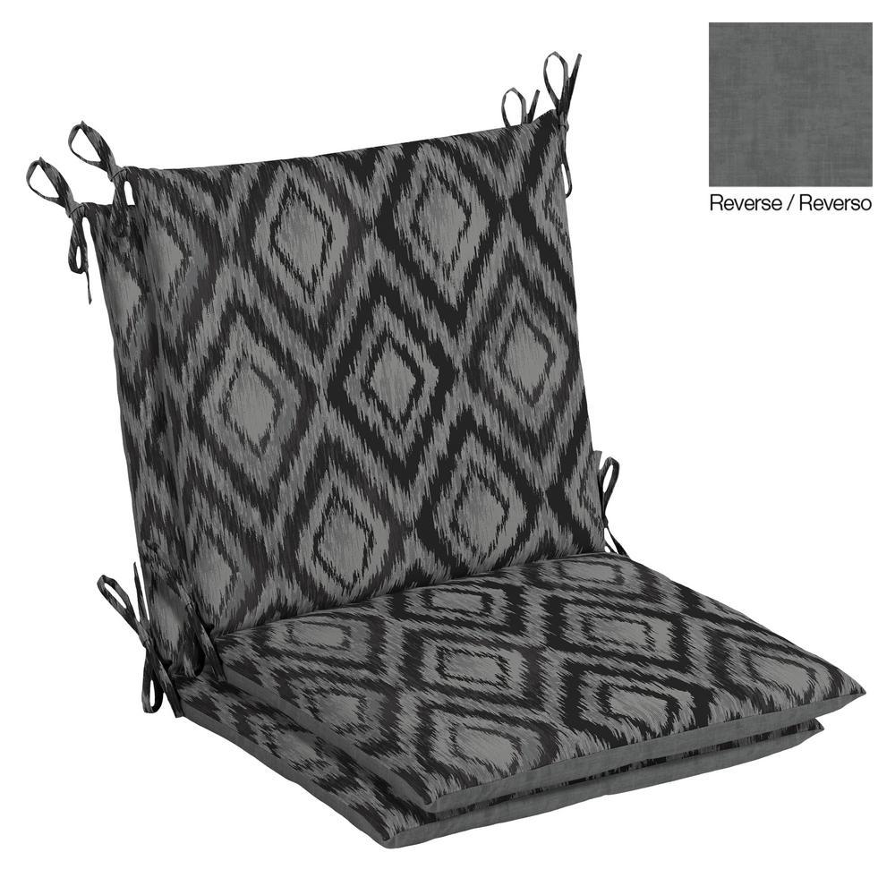 Hampton Bay 20 x 37 Jackson Ikat Diamond Outdoor Dining Chair Cushion (2-Pack)