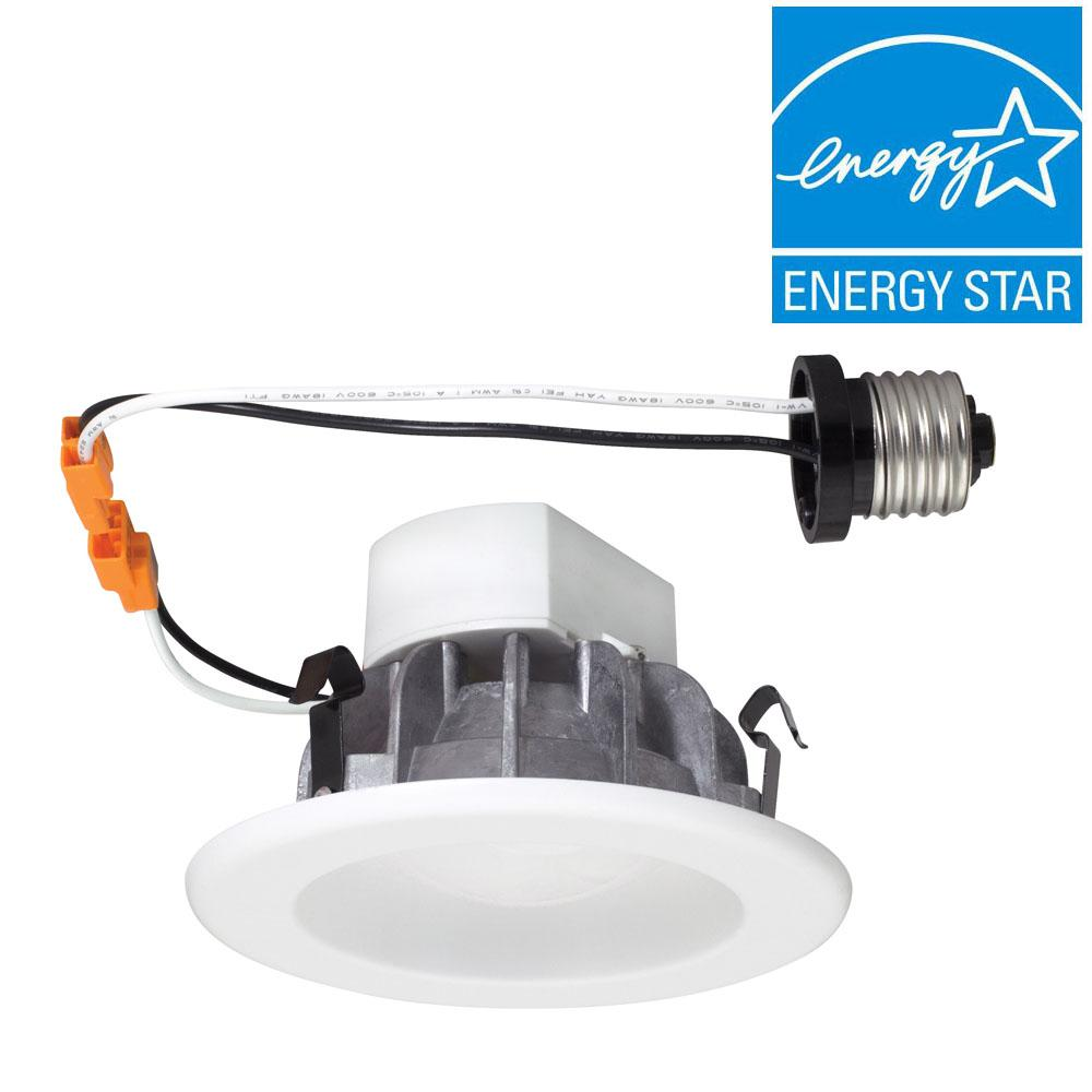 Envirolite 4 in white recessed led ceiling light with magnetic trim white recessed led ceiling light with magnetic trim ring 4000k aloadofball Image collections