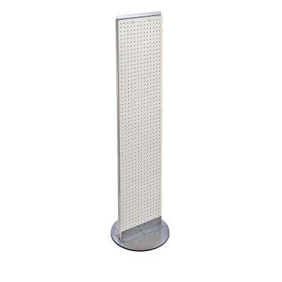 60 in. H x 16 in. W Styrene Pegboard Floor Display with Revolving Wheeled Base in White (2-Piece)
