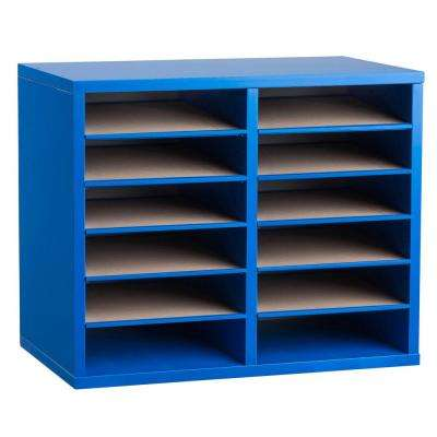 Wood Adjustable 12 Compartment Literature Organizer, Blue