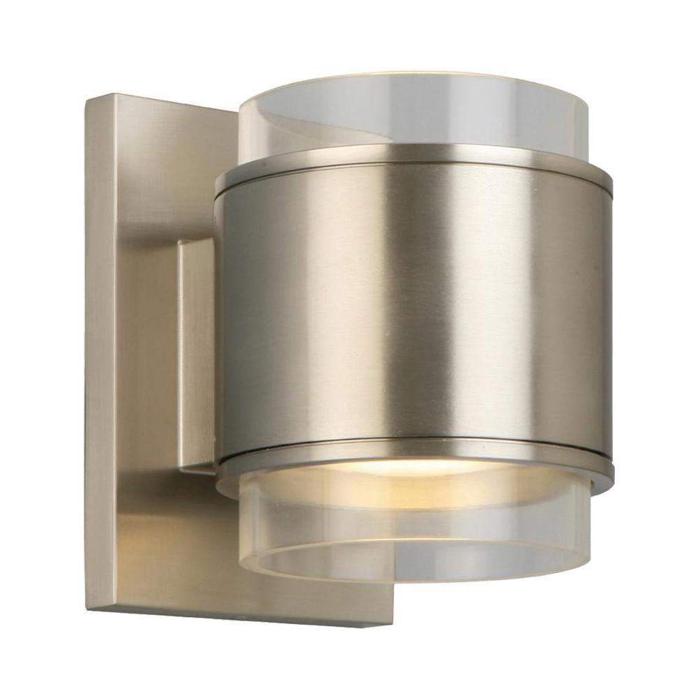 Home decorators collection 60 watt equivalent brushed nickel led wall sconce